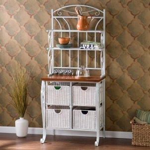 White wicker kitchen storage shelves with baskets