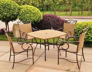 Tan wicker patio set adds elegance to patio