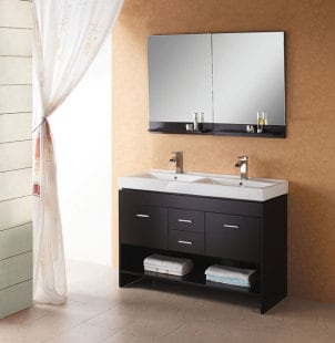 Double sink espresso colored bathroom vanity