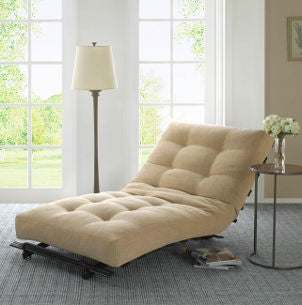 Beige upholstered chaise lounge updates living room