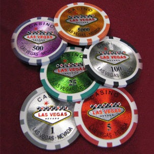 Assortment of colorful poker chips