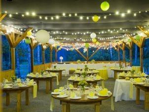 String garden lights and green Japanese lanterns dress up outdoor wedding