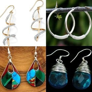 A collection of dangle earrings to wear with jeans