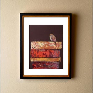 Framed contemporary art print features a bird on a stack of books
