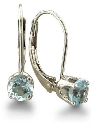 A pair of lovely aquamarine leverback earrings