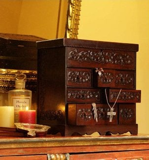 Ornate carved wood chest of drawers jewelry box
