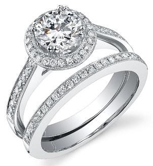 A modern diamond bridal set