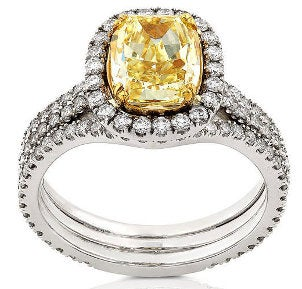 A yellow diamond bridal set