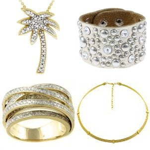 Four pieces of jewelry to wear with a tan