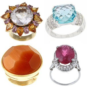 Four fabulous gemstone cocktail rings