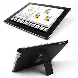 Black iPad case with a black stand