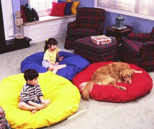 Two kids and a dog relaxing on living room bean bags
