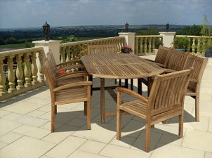 Wooden patio dining set dresses up tropical patio