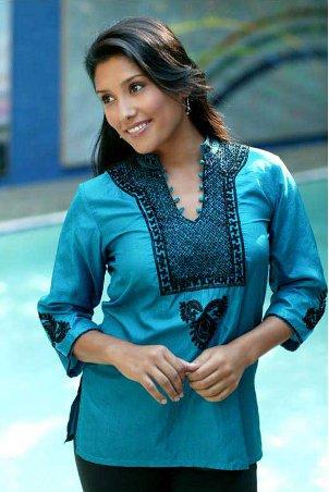 Woman wearing a beautiful, handmade Worldstock tunic