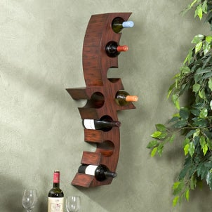 A stylish kitchen storage piece with a built-in wine rack