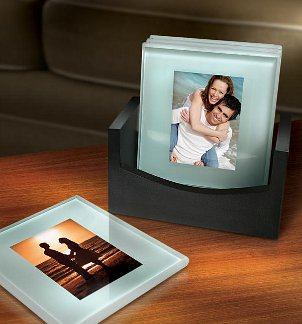 photo coasters are fun and functional in your living room