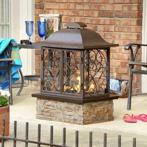 A fireplace completes your patio