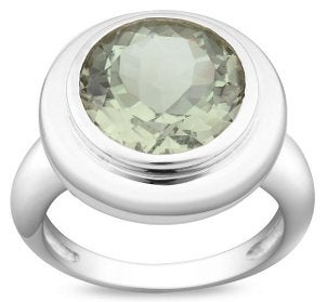 Sterling silver and green amethyst fashion ring