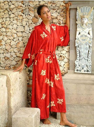 Stylish silk bath robe
