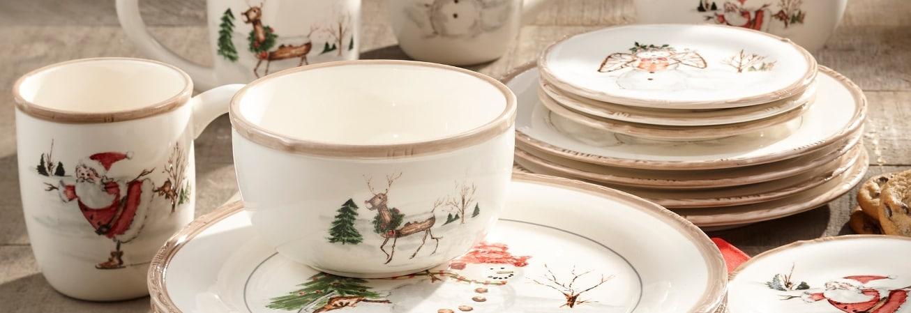 Red runner holiday dinnerware