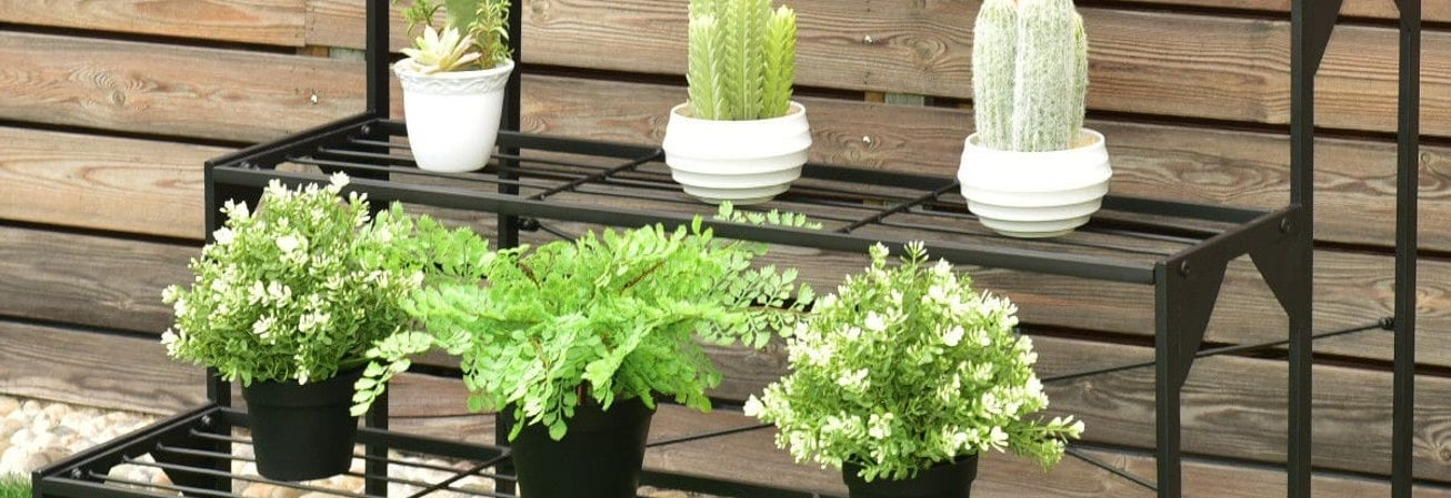 Multiplant shelf outdoor planter