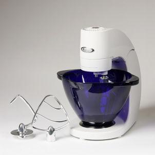 White kitchen mixer with blue glass bowl