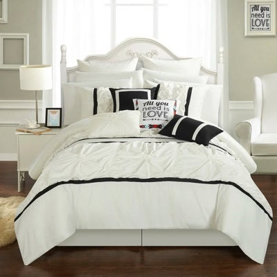 White bed sheet and comforter set with large matching pillows by Chic Home online at Overstock