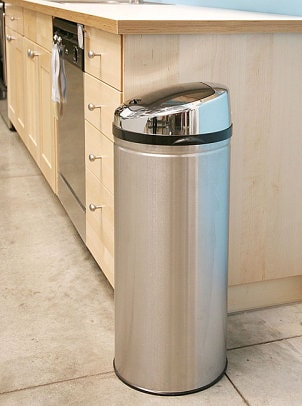 Stainless steel touchless trash can