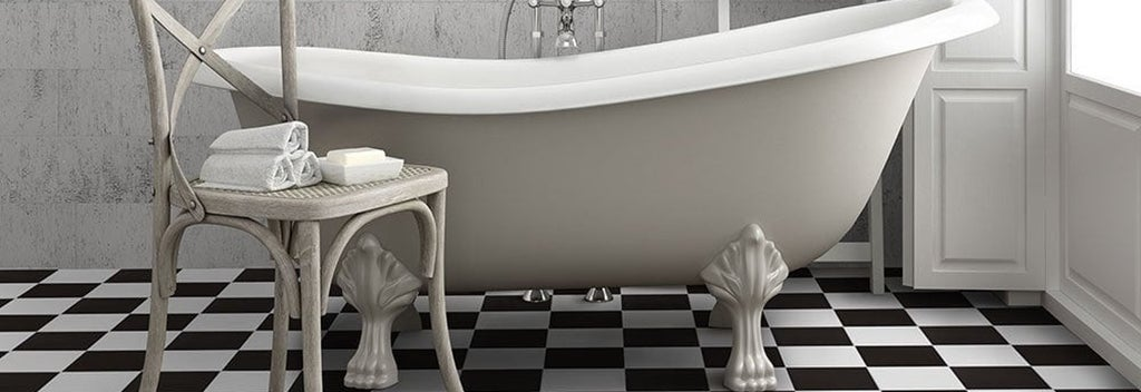 black and white floor with clawfoot tub