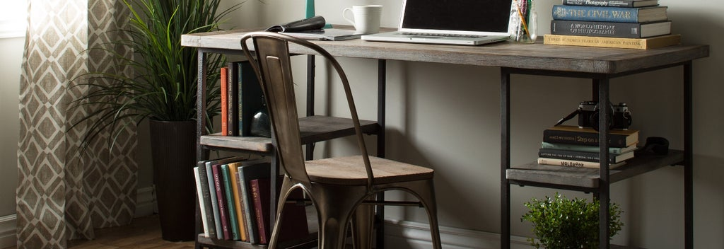Rustic metal and wood computer table
