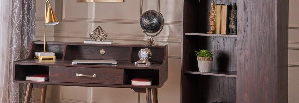brown secretary desk with book shelf