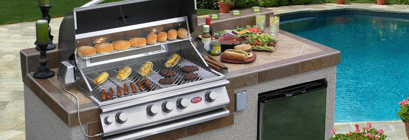 Table top and grill with food
