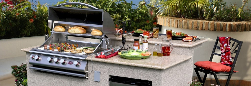 Stainless steel grill with counter