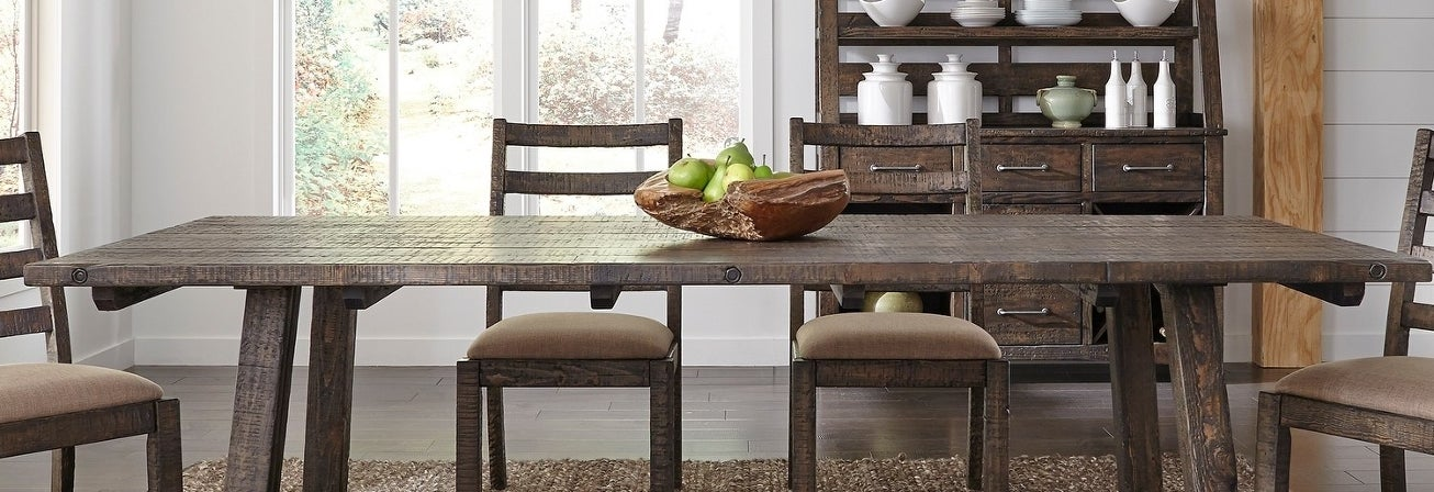 Wood rustic dining room set