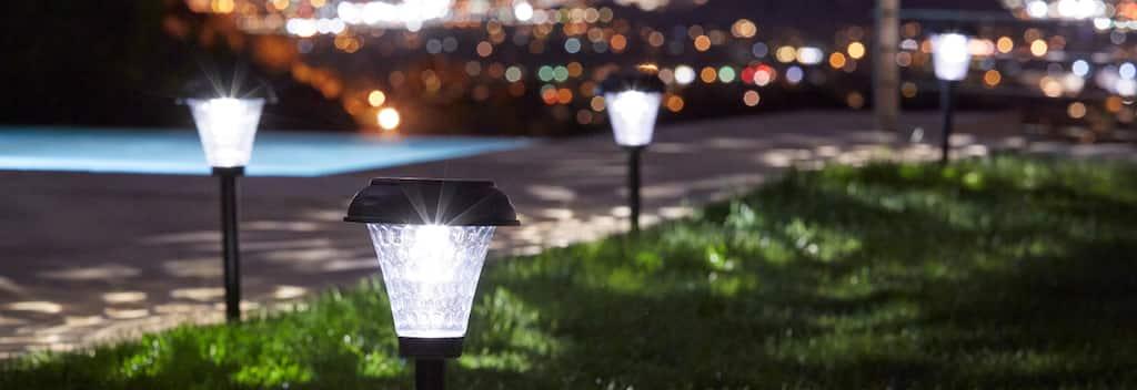 Black Solar Lights In Yard
