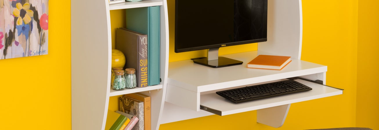 Brown floating student desk