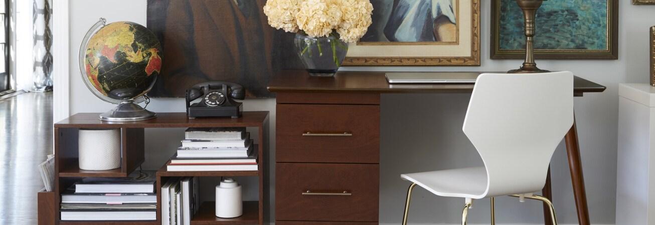 Brown with gold handle vintage desk