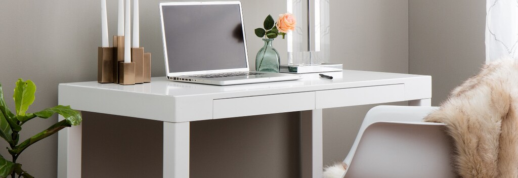 White square computer desk