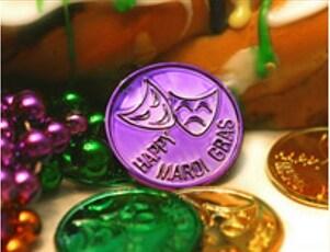 Mardi Gras coins to bake into a king's cake