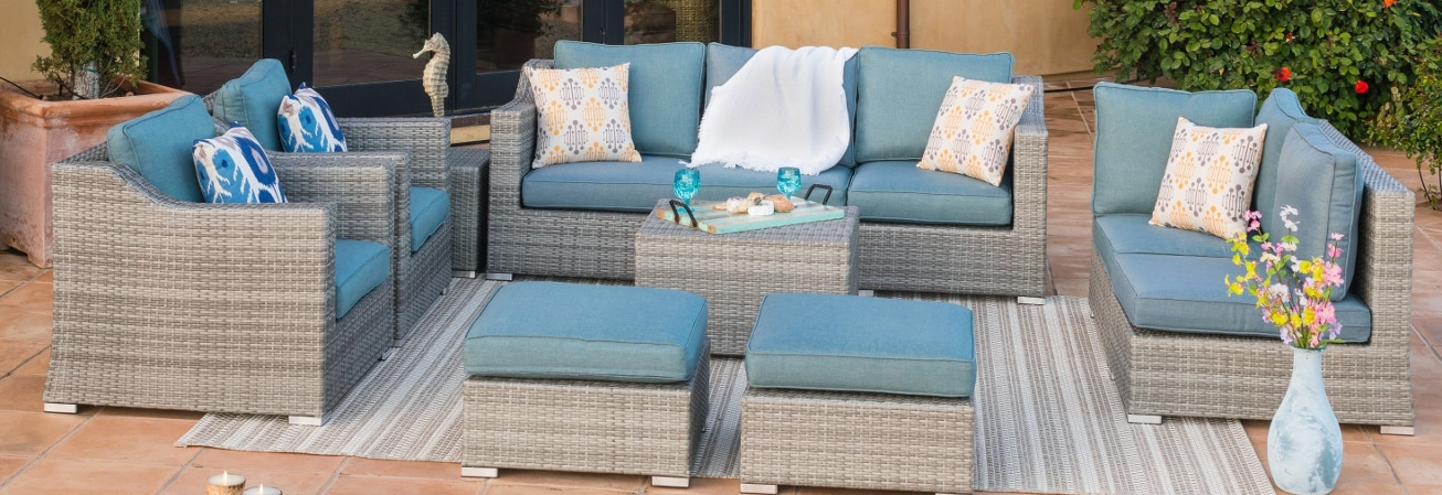 A blue patio furniture set, a great outdoor element for your backyard