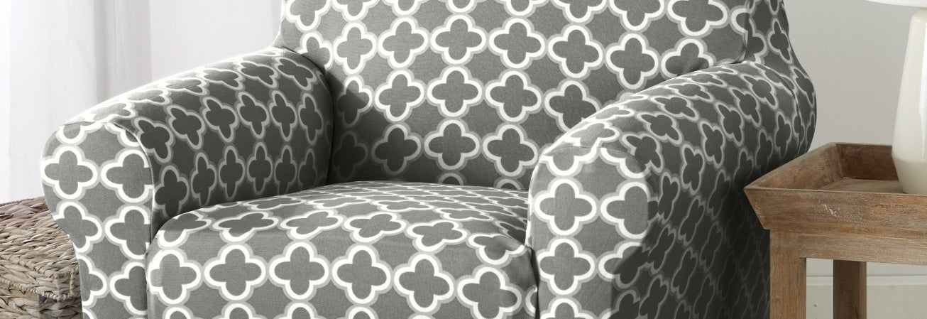 A grey slipcover on a sofa