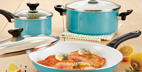 Teal colored cookware set