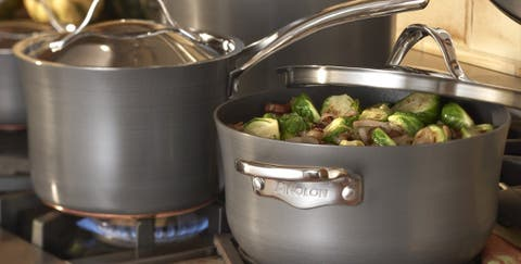 Pot & pans on stovetop, a type of cookware