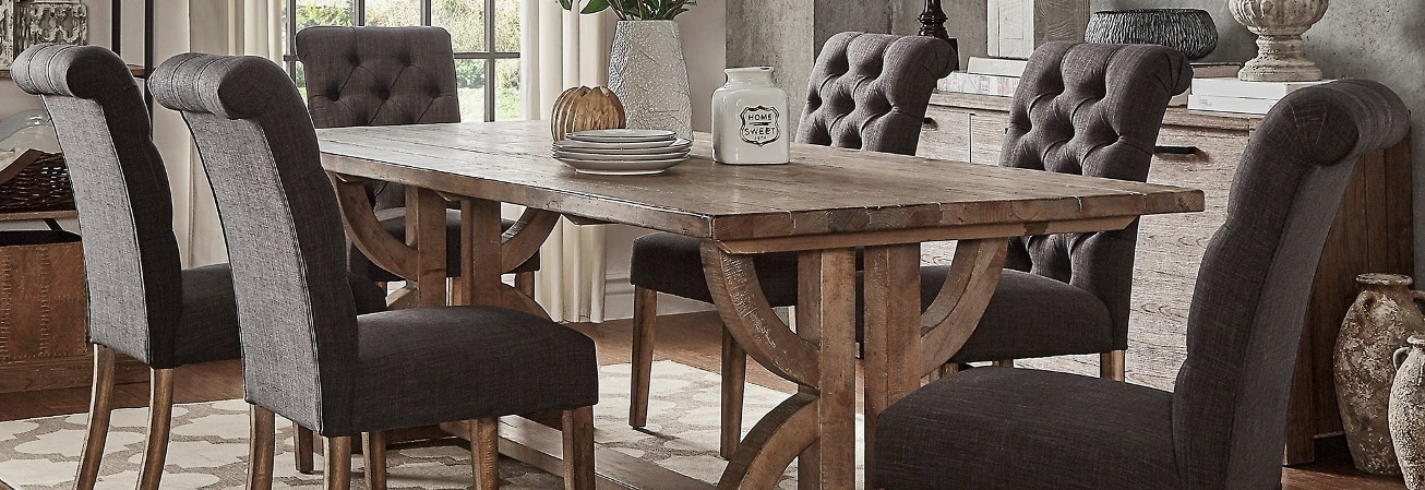 Dark Grey High Back Dining Room Chair Set