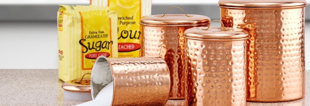 Rose gold nailed kitchen canister