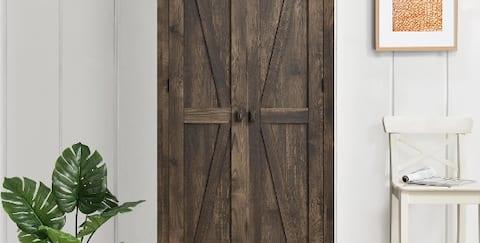Slim rustic style armoire