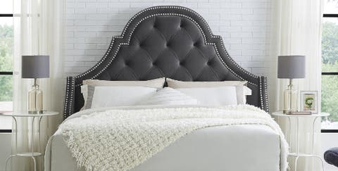 Grey tufted free-standing headboard