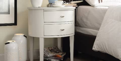 White nightstand in bedroom