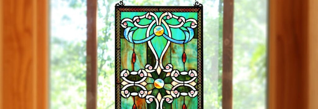 Rectangular floral stained glass panel