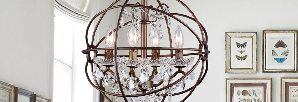 Wrought iron with chandelier ceiling light